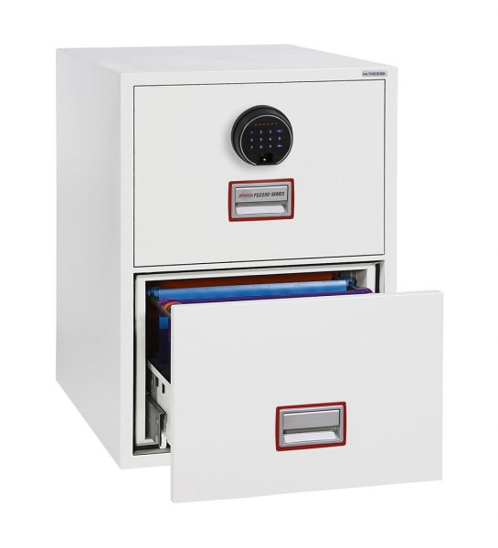 Phoenix World Class Vertical Fire File FS2252F 2 Drawer Filing Cabinet with Fingerprint Lock
