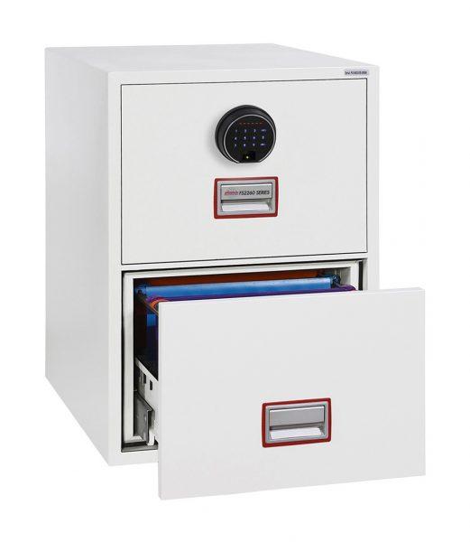 Phoenix World Class Vertical Fire File FS2262F 2 Drawer Filing Cabinet with Fingerprint Lock