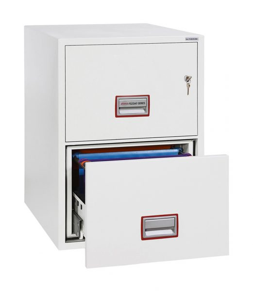Phoenix World Class Vertical Fire File FS2262K 2 Drawer Filing Cabinet with Key Lock