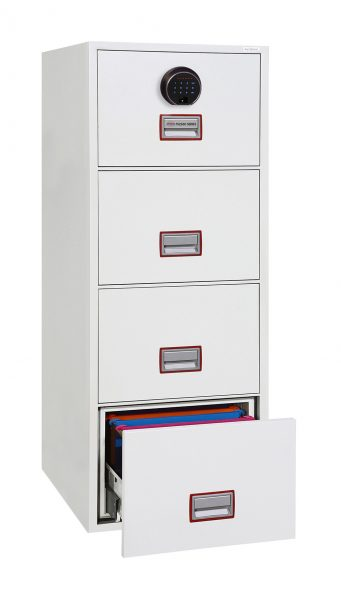 Phoenix World Class Vertical Fire File FS2264F 4 Drawer Filing Cabinet with Fingerprint Lock