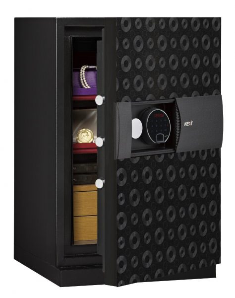 Phoenix Next LS7002FB Luxury Safe Size 2 in Black with Fingerprint Lock