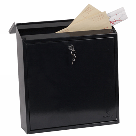 Phoenix Casa Top Loading Letter Box MB0111KB in Black with Key Lock