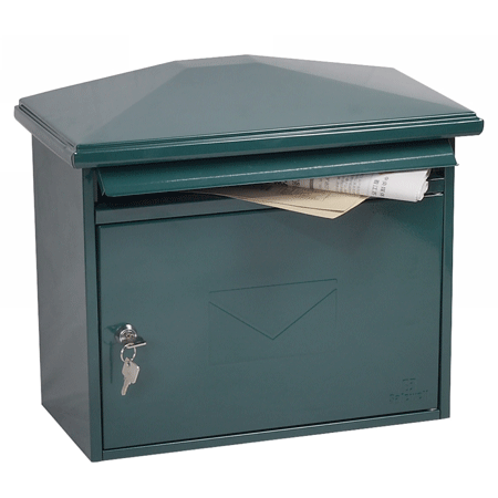 Phoenix Libro Front Loading Letter box MB0115KG in Green with Key Lock