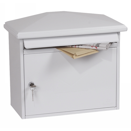 Phoenix Libro Front Loading Letter Box MB0115KW in White with Key Lock