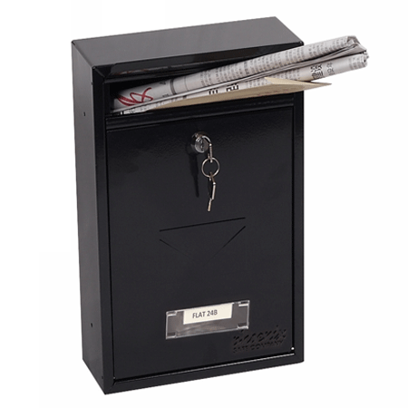 Phoenix Letra Front Loading Letter Box MB0116KB in Black with Key Lock