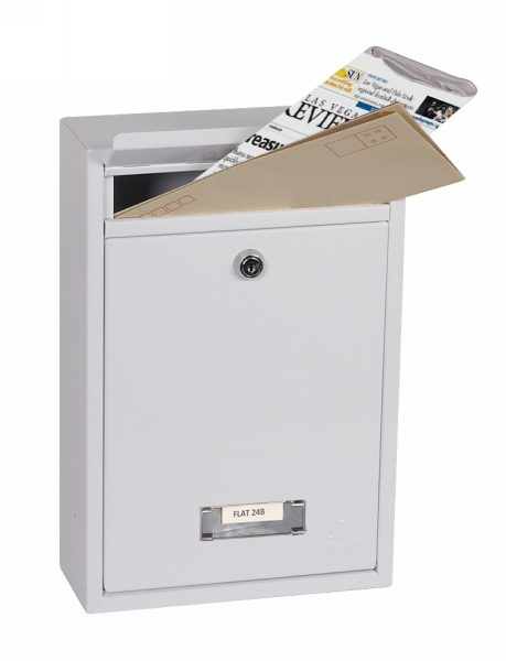 Phoenix Letra Front Loading Letter Box MB0116KW in White with Key Lock