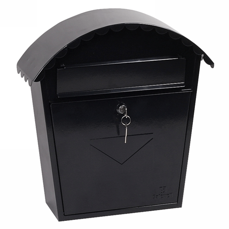 Phoenix Clasico Front Loading Letter Box MB0117KB in Black with Key Lock