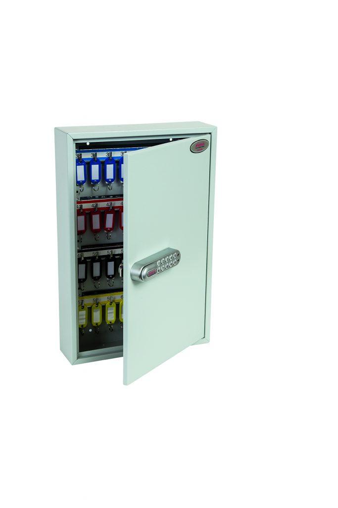 Phoenix Commercial Key Cabinet KC0602S 64 Hook with Electronic Lock & Push Shut Latch.