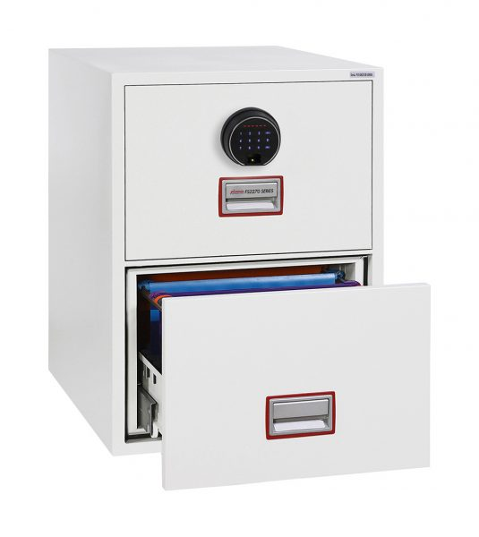 Phoenix World Class Vertical Fire File FS2272F 2 Drawer Filing Cabinet with Fingerprint Lock