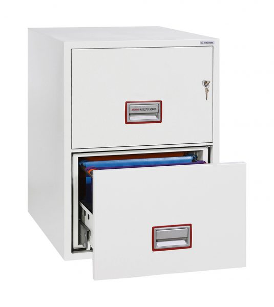 Phoenix World Class Vertical Fire File FS2272K 2 Drawer Filing Cabinet with Key Lock