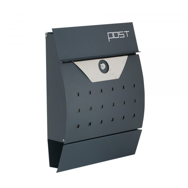 Phoenix Estilo Front Loading Letter Box MB0122KA in Graphite Grey with Key Lock