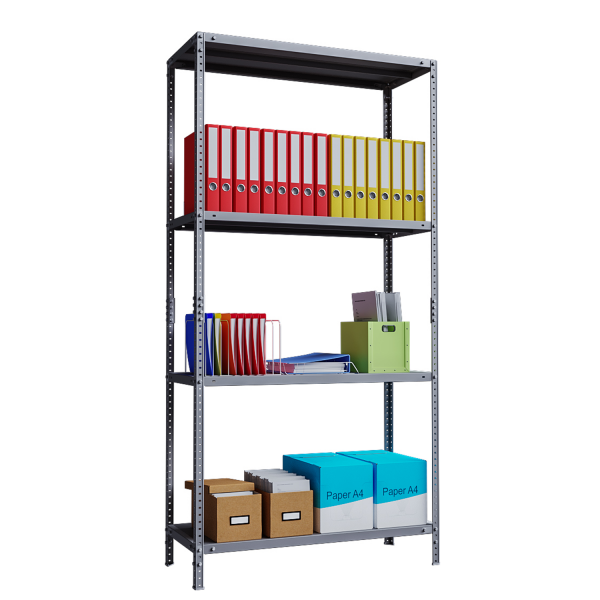 Phoenix AR Series AR2014/4G 4 Shelf Static Shelving Unit in Grey