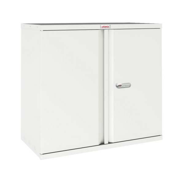 Phoenix SC Series SC0891WE 2 Door 1 Shelf Stationery Cupboard in White with Electronic lock