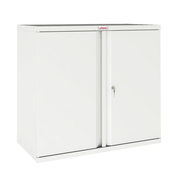 Phoenix SC Series SC0891WK 2 Door 1 Shelf Stationery Cupboard in White with Key lock