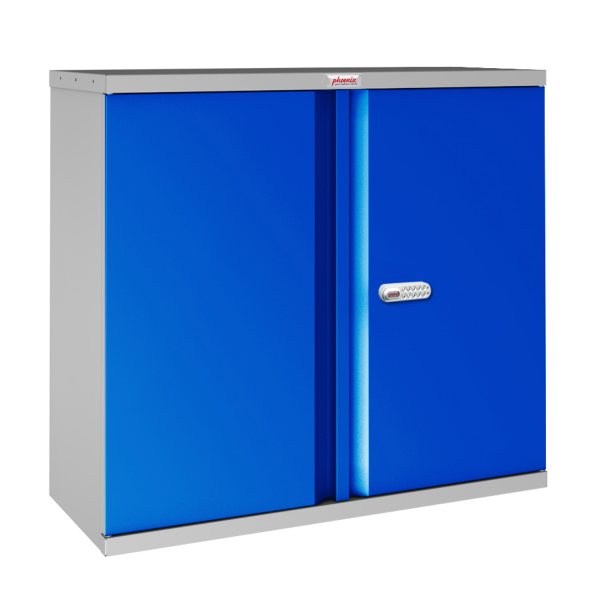 Phoenix SCL Series SCL0891GBE 2 Door 1 Shelf Steel Storage Cupboard Grey Body & Blue Doors with Electronic Lock
