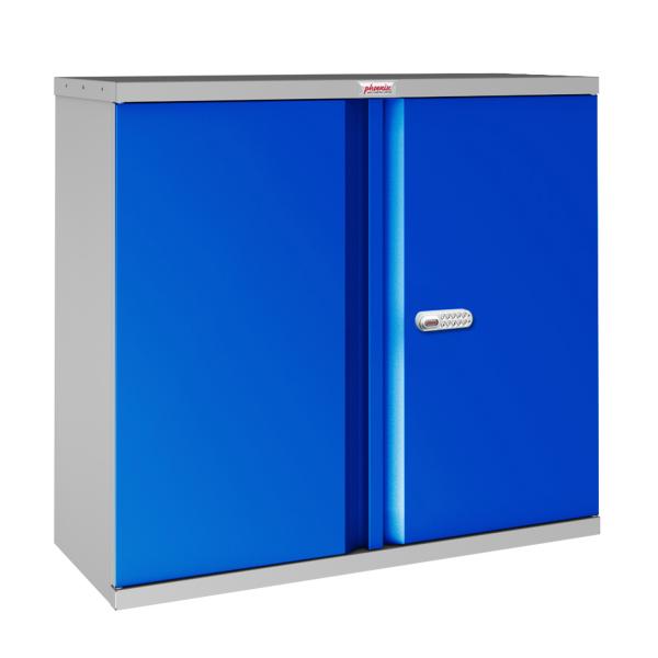 Phoenix SCL Series SCL0891GBE 2 Door 1 Shelf Steel Storage Cupboard Grey Body & Blue Doors with Electronic Lock