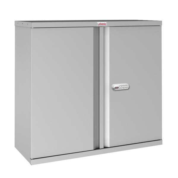 Phoenix SCL Series SCL0891GGE 2 Door 1 Shelf Steel Storage Cupboard in Grey with Electronic Lock