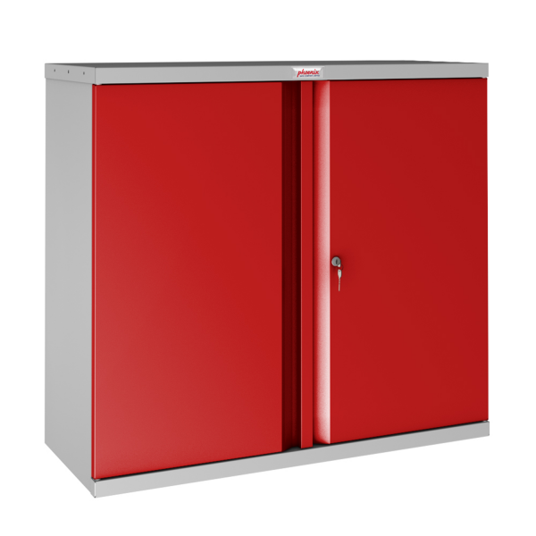 Phoenix SCL Series SCL0891GRK 2 Door 1 Shelf Steel Storage Cupboard Grey Body & Red Doors with Key Lock