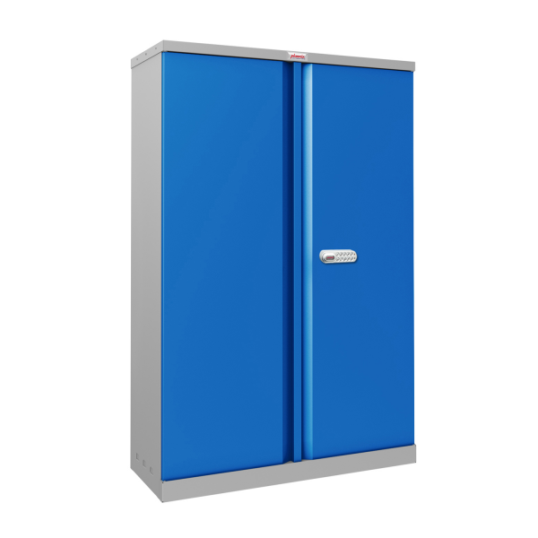 Phoenix SCL Series SCL1491GBE 2 Door 3 Shelf Steel Storage Cupboard Grey Body & Blue Doors with Electronic Lock