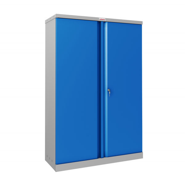 Phoenix SCL Series SCL1491GBK 2 Door 3 Shelf Steel Storage Cupboard Grey Body & Blue Doors with Key Lock