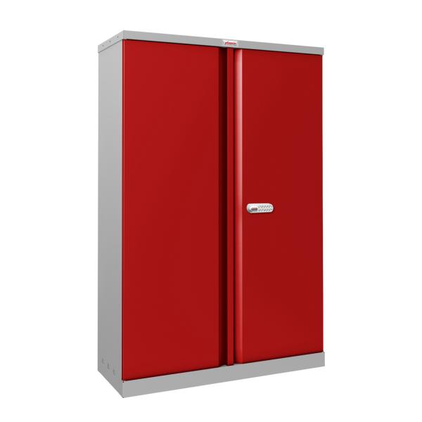 Phoenix SCL Series SCL1491GRE 2 Door 3 Shelf Steel Storage Cupboard Grey Body & Red Doors with Electronic Lock