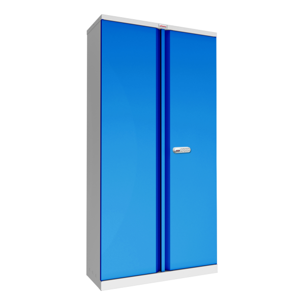 Phoenix SCL Series SCL1891GBE 2 Door 4 Shelf Steel Storage Cupboard Grey Body & Blue Doors with Electronic Lock