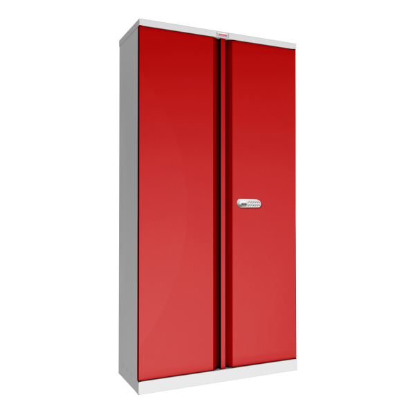 Phoenix SCL Series SCL1891GRE 2 Door 4 Shelf Steel Storage Cupboard Grey Body & Red Doors with Electronic Lock
