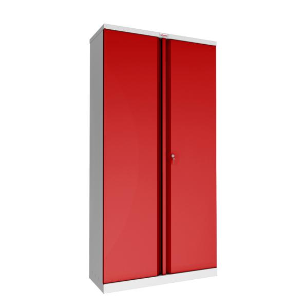 Phoenix SCL Series SCL1891GRK 2 Door 4 Shelf Steel Storage Cupboard Grey Body & Red Doors with Key Lock