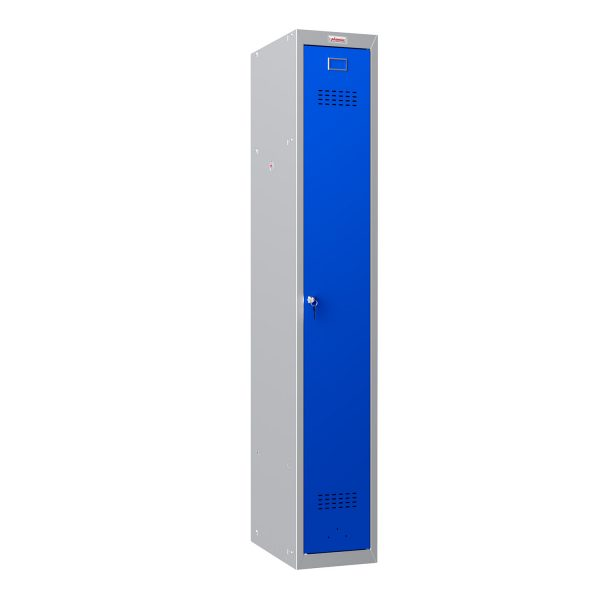Phoenix PL Series PL1130GBK 1 Column 1 Door Personal Locker Grey Body/Blue Door with Key Lock