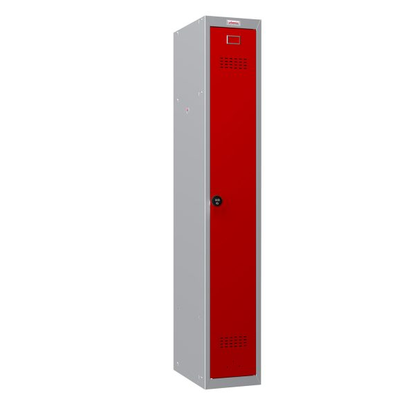Phoenix PL Series PL1130GRC 1 Column 1 Door Personal Locker Grey Body/Red Door with Combination Lock