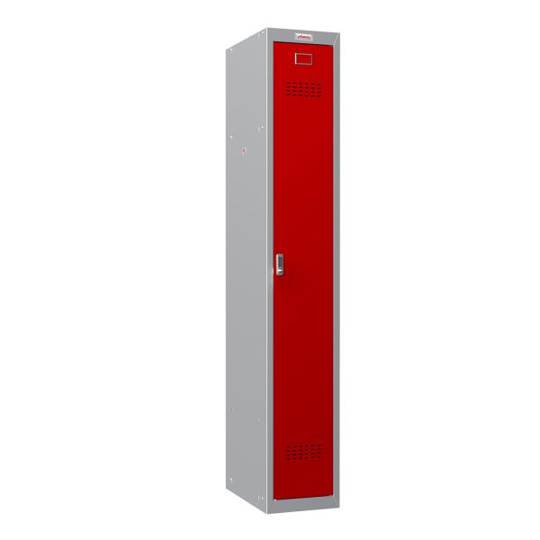 Phoenix PL Series PL1130GRE 1 Column 1 Door Personal Locker Grey Body/Red Door with Electronic Lock