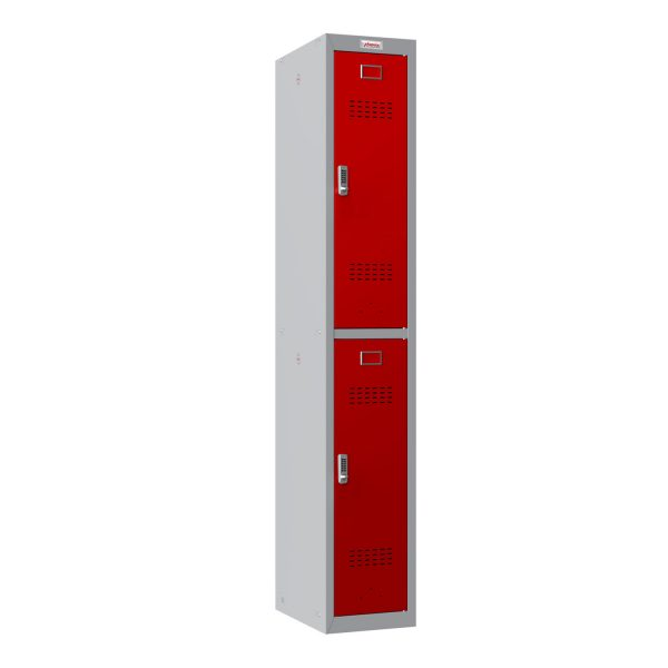 Phoenix PL Series PL1230GRE 1 Column 2 Door Personal Locker Grey Body/Red Doors with Electronic Locks