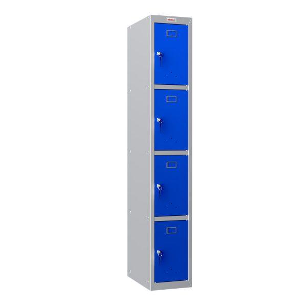 Phoenix PL Series PL1430GBK 1 Column 4 Door Personal Locker Grey Body/Blue Doors with Key Lock