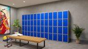 Phoenix PL Series PL1430GBK 1 Column 4 Door Personal Locker Grey Body/Blue Doors with Key Lock 6