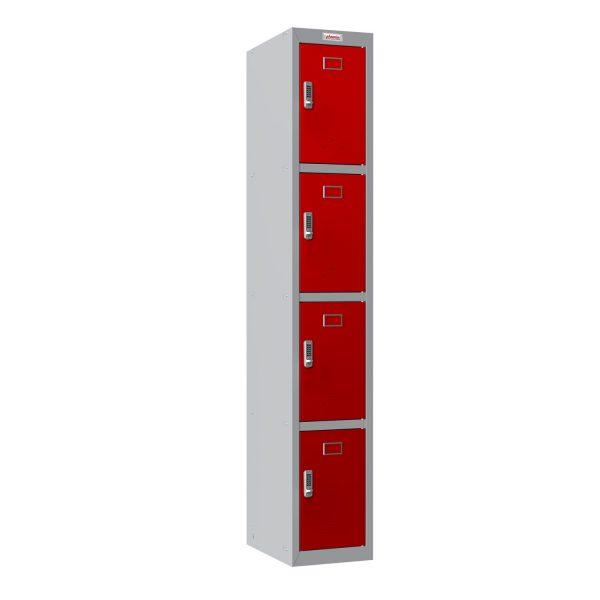 Phoenix PL Series PL1430GRE 1 Column 4 Door Personal Locker Grey Body/Red Doors with Electronic Locks