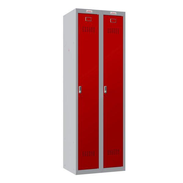 Phoenix PL Series PL2160GRE 2 Column 2 Door Personal Locker Combo Grey Body/Red Doors with Electronic Locks