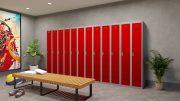 Phoenix PL Series PL2160GRE 2 Column 2 Door Personal Locker Combo Grey Body/Red Doors with Electronic Locks 0