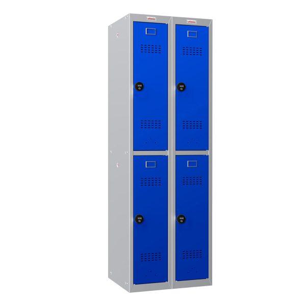 Phoenix PL Series PL2260GBC 2 Column 4 Door Personal Locker Combo Grey Body/Blue Doors with Combination Locks