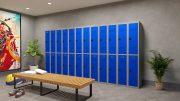 Phoenix PL Series PL2260GBC 2 Column 4 Door Personal Locker Combo Grey Body/Blue Doors with Combination Locks 7