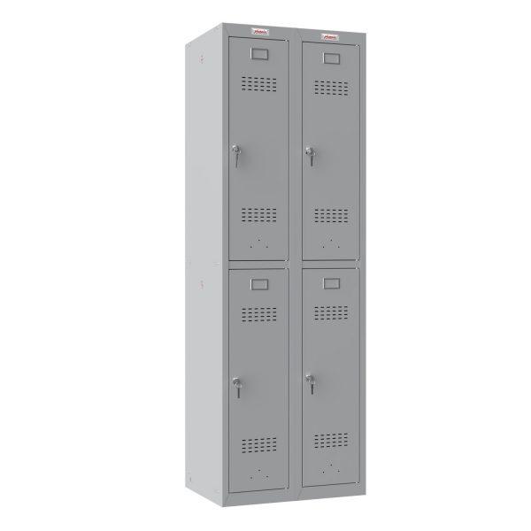 Phoenix PL Series PL2260GGK 2 Column 4 Door Personal Locker Combo in Grey with Key Locks