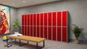 Phoenix PL Series PL2260GRC 2 Column 4 Door Personal Locker Combo Grey Body/Red Doors with Combination Locks 7