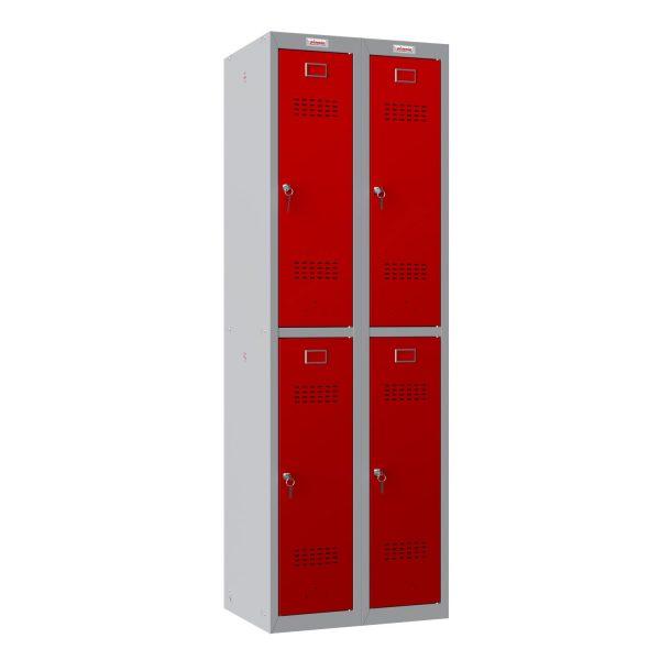 Phoenix PL Series PL2260GRK 2 Column 4 Door Personal Locker Combo Grey Body/Red Doors with Key Locks