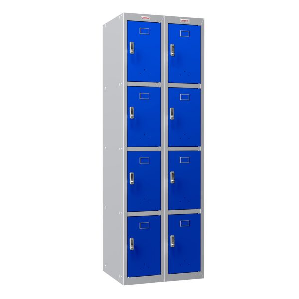Phoenix PL Series PL2460GBE 2 Column 8 Door Personal Locker Combo Grey Body/Blue Doors with Electronic Locks