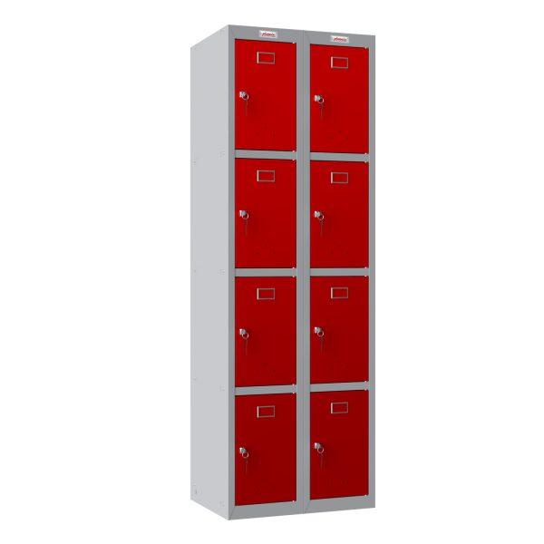 Phoenix PL Series PL2460GRK 2 Column 8 Door Personal Locker Combo Grey Body/Red Doors with Key Locks
