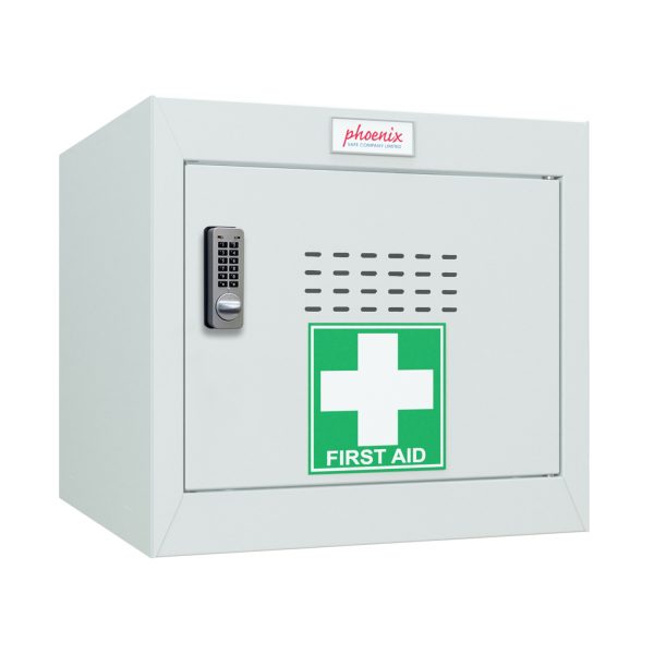 Phoenix MC0344GGE Size 1 Light Grey Medical Cube Locker with Electronic Lock