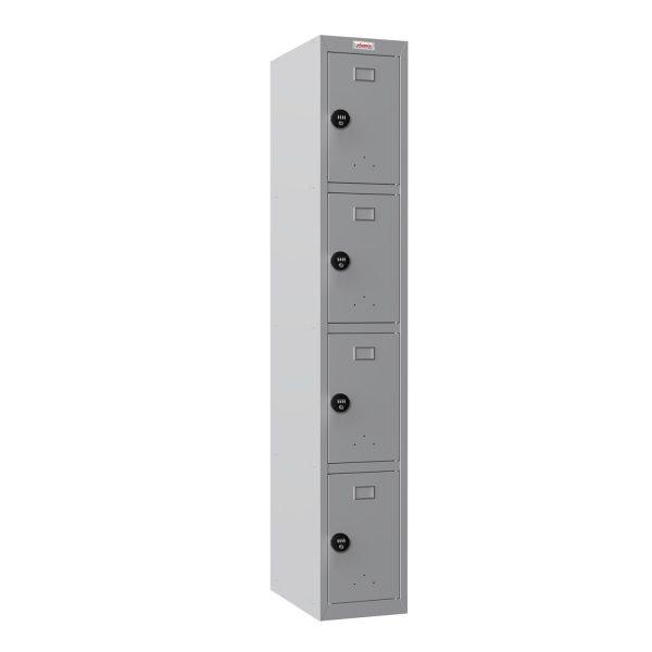Phoenix PL 300D Series PL1433GGC 1 Column 4 Door Personal locker in Grey with Combination Lock